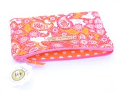 Quilted orange and pink paisley  Zipper Pouch Makeup Bag Clutch Coin Purse