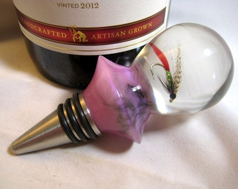 Wine Bottle Stopper fishing lure Hand Tied Fishing Fly Acrylic  Stainless Steel Barware