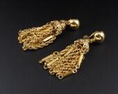 Monet Tassel Earrings, Gold Tassel Earrings, Dangle Earrings, Gold Earrings, Chain Earrings, Waterfall Earrings