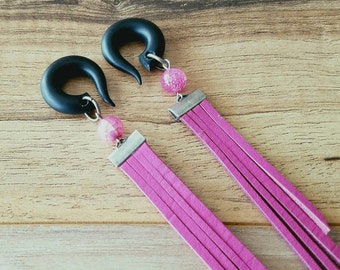 Pink Suede Fringe Gauges with Fire Agate Stones