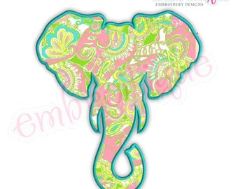 Elephant Head Applique Alabama Roll Tide Crimson - Instant Download -Digital Machine Embroidery Design