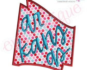 Arkansas Lettered State Shape Applique- Instant Download -Digital Machine Embroidery Design
