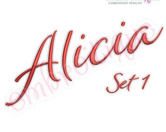 Alicia Calligraphy Monogram Set 1 - Embroitique Exclusive - Interchangeable Machine Embroidery Font - Instant download Alphabet