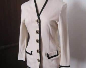 Vintage Cream Blacket with Black Trim Fitted Size L Large
