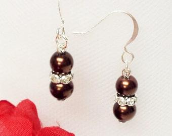 Dark Chocolate Brown Pearl Earrings - Traditional Bridesmaid Earrings - 6mm Rondelle Rhinestone Flower Girl Earrings