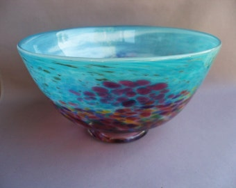 Hand Blown Art Glass Fruit  Bowl on Foot, Turquoise and Red Multicolor