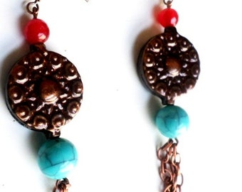 boho dangling earrings copper metal and copper chains with red agate and turquoise bead//boho earrings//dangle earrings//copper metal//agate