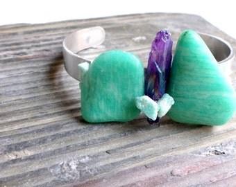 boho handstamped free spirit cuff with amazonite and purple aura quartz stone//cuff//aluminum cuff//handstamped//amazonite//aura quartz