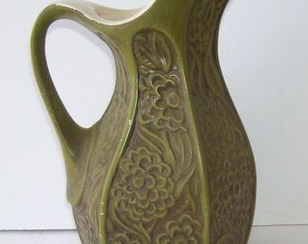McCoy Green Pottery Pitcher, 4 Cup Serving Pitcher, 618 Embossed Molded Flower Design, Vintage McCoy, Rustic Kitchen, Farm House Kitchen