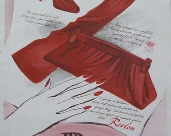 1942 Magazine Print Ad  Revlon Nail Polish, Rich's Atlanta 75th Anniversary 1867-1942, Double Sided Ad Patricia Designed