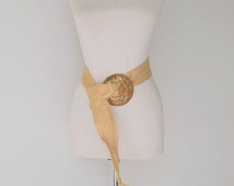 Vintage Woven and Brass Statement Belt