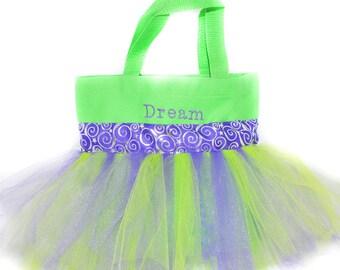 Tutu Bag, Dance Bag, Purple Whimsical With FREE Monogram Name Embroidered on the Bag, Personalized Girl Dance Bag, Fairy Bag, Ballet Bag