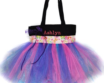 Pink Butterfly Ribbon Tutu Tote Bag With FREE Monogram Name Embroidered on it, Little Girl's Tutu Bag, Dance Bag, Princess Style
