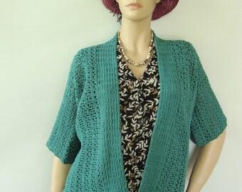 Cardigan, Crochet Cardigan, Crochet Sweaters Women, Summer Cardigan, Teal Cardigan, Kimono Cardigan, Cotton Cardigan, Available in S