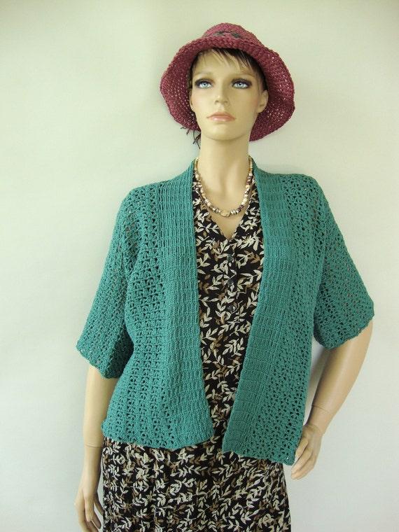 Crochet Cardigan, Summer Cardigan, Turquoise Cardigan, Kimono Cardigan, Women's Sweaters, Cotton Cardigan, Available in S