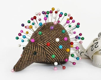 Pincushion, Hedgehog, upcycled wool, handmade, Anise Barberry