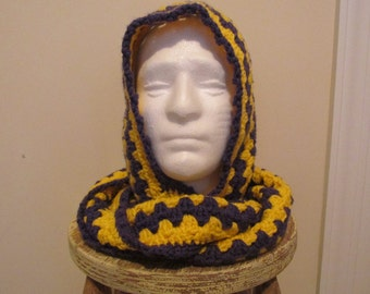 Scoodie Hooded Scarf in Purple and Yellow/Gold ECU Pirates - Ready to Ship!
