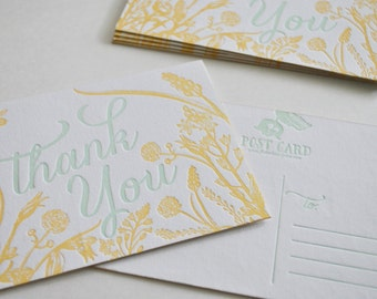 Letterpress Post Card- floral Thank You