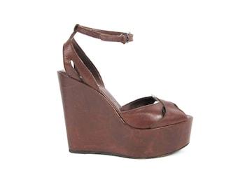 Brown Leather Platform Wedges Tall Wedge Heels Vintage Platform Sandals Ankle Strap Heels Peep Toe 40s Style Retro Pinup Platforms Size 8