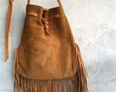 Vintage 1970s leather fringe purse, Southwestern purse, 1970s boho summer festival bag, leather fringe handbag, vintage fringe tote bag