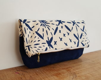 Organic Cotton Big Sashiko Print Fold Over Clutch in Indigo