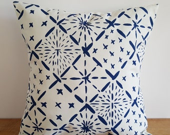 Organic Cotton Hemp Hand Screen Printed Big Sashiko Pattern Pillow Cover, 18x18