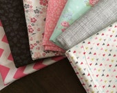 Quilt Kit DIY - Patchwork Quilt Kit - Easy Quilt Pattern - Vintage Like Floral Baby Quilt in Pink Gray Mint - Beginner's Quilting Kit Easy