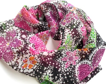 Black Scarf, Floral Scarf, Pink Purple Orange Green, Lightweight Scarf, Spring Summer Scarf, Womens Scarves, Chiffon Scarf, Infinity Scarf