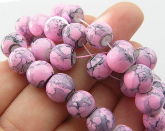90 Pink and grey ripple glass beads B137