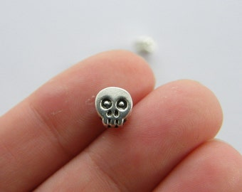 BULK 50 Skull spacer beads charms antique silver tone HC46