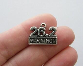 4 Marathon 26.2 charms antique silver tone SP135
