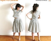 ON SALE 1950s Skirt Set / 50s Dress / 1950s Sage Green Gingham Crop Top Blouse and Full Skirt