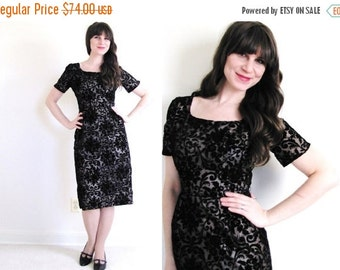 ON SALE 50s Dress / 1950s Wiggle Dress / 50s Black Damask Dress