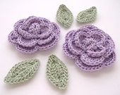 "Lavender 1-3/4"" Crochet Rose Flower Embellishments w/ Leaves Handmade Scrapbooking Fashion Accessories Appliques - 6 pcs. (3390-02L)"