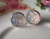 Earrings, Stud Earrings,Druzy Earrings,Pearl White Sparkle Earrings
