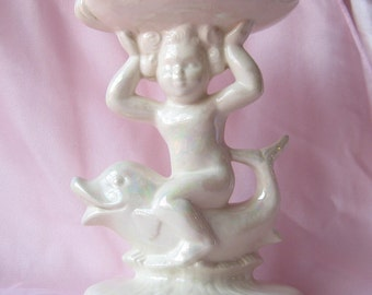 Vintage Lusterware Cherub on Fish Soap Dish/ Business Card Holder,Mermaid and Dolphin