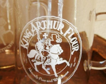 4 King Arthur Flour Glass Mugs by Catamount Glass
