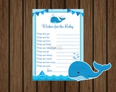 Whale Baby Shower Wishes for Baby, Whale Baby Shower, Nautical Wishes for Baby, Baby Boy, Instant Download