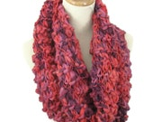Coral Infinity Knit Scarf, Neck Warmer, Chunky Loop Scarf, Circle Knit Scarf, Cowl Scarf, Snood Scarf, Winter Accessory, Fashion Scarf