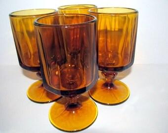 Vintage Amber Octagonal Glasses Pedestal Base