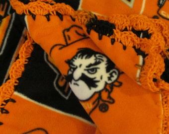 OSU Oklahoma State University Cowboys College Fleece Throw Blanket with Crochet Edge