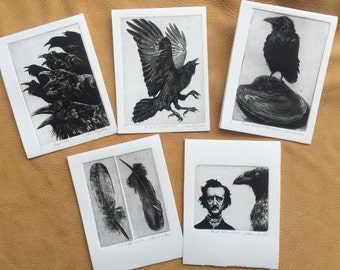 Handmade cards, Raven artwork , Raven, crow, , Etchings, original prints