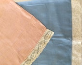 2 Boudoir PILLOWCASES Blue Pink with Ivory LACE each 18x11