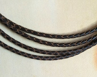 3mm Braided leather cord - Coffee cord, bracelet cord, dark brown cord, bracelet cord, round leather cord