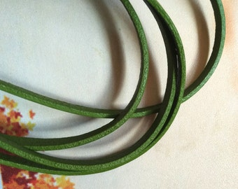 6x2mm Green Genuine leather cord Flat leather cord green leather strip green strip green flat cord