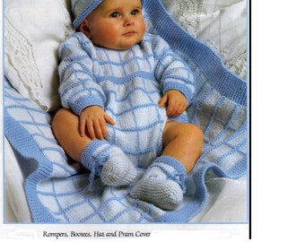 Knitting PATTERN - Baby Romper, Hat,Booties and Pram cover DK