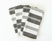 Handwoven Napkins, Black and White Napkins Wide Striped, Set of 4, Fair Trade Cloth Napkins, Housewarming Gift, Hostess Gift