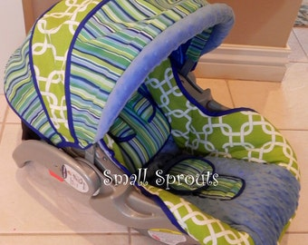 Custom Boutique Baby Trend Flex loc Blue Green Stripe/Geo/Blue minky infant Car Seat Cover-Ready To Ship