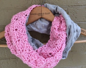 Kid Scarf - Snood - Infinity Cowl - Toddler Kid Infinity Scarf grey and pink sparkle