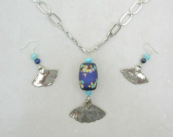 Beautiful Silver Gingko  Leaves & Artisan Japanese Barrel Bead, Sterling Silver Chain and Earrings, Investment Necklace Set by SandraDesigns